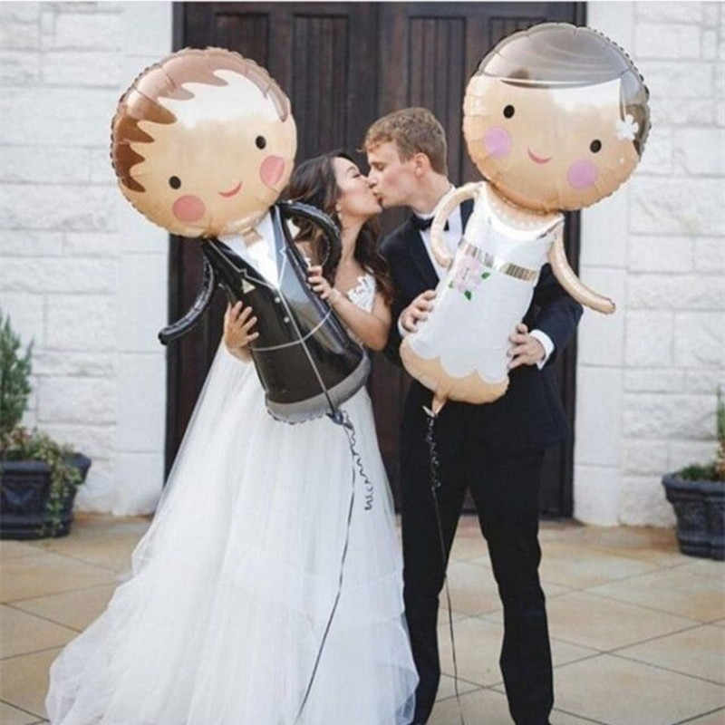 Bride Groom Wedding Decorations Foil Balloons Marriage Boy Girl Love Helium Balls Valentine's Day Event Party Supplies Toys