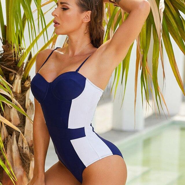 Frauen Badeanzug Push-Up  Blau Verstellbare Riemen Sommer Strand 3