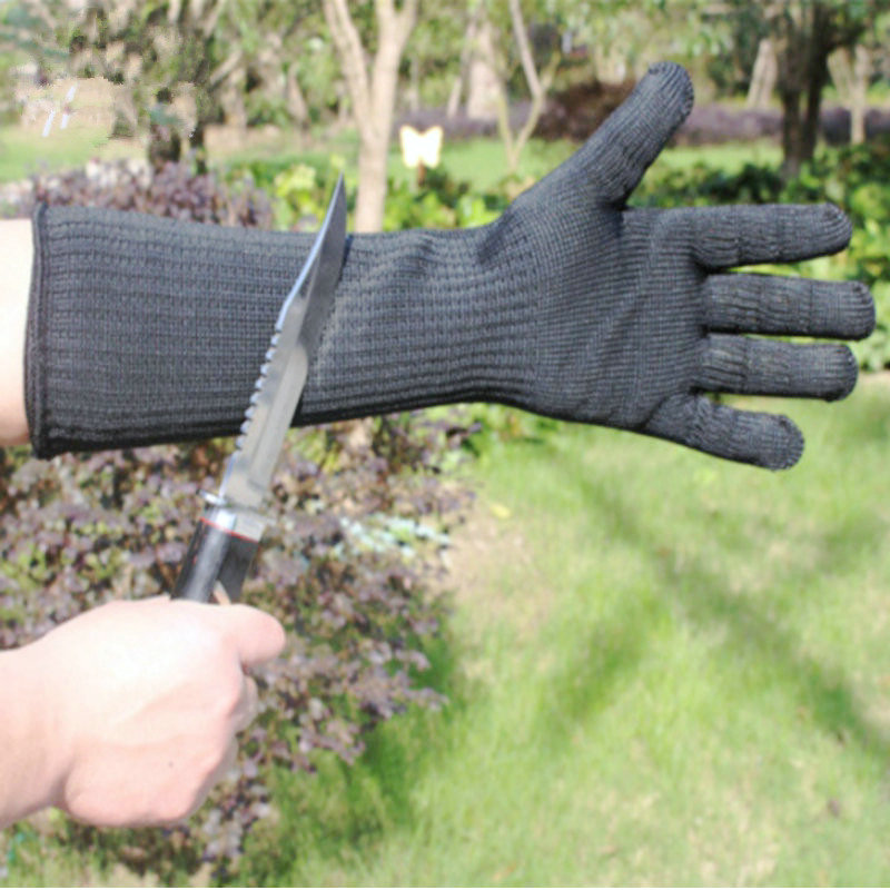 EN388 Standard Long Sleeve Cut-proof Anti-tear Gloves Black White Long Cut Knife Gloves Sleeves Long Steel Wire Gloves Arm Guard