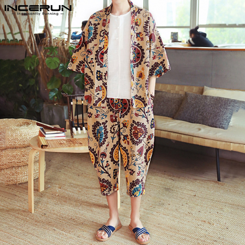 INCERUN Ethnic Printed Men Sets Casual Cotton Streetwear Vintage Half Sleeve Hawaiian Outwear Tops Mens Pants 2 Pieces Sets 2020