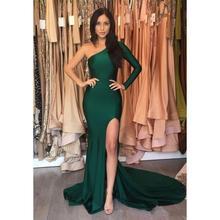 Hunter Green Mermaid Prom Dresses Long 2019 vestidos de gala Cheap One Shoulder Evening Gowns Side Split Formal Party Dress