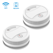 CPVan 2pcs/Lot Tuya App Smoke Detector phone push Fire Protection Sensor Independent wifi rookmelder smoke and gas detector