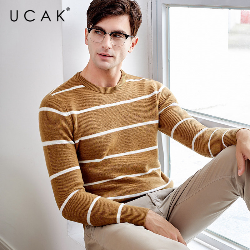 UCAK Brand Merino Wool Sweater Men Streetwear Young Fashion Striped O-Neck Pull Homme Autumn Winter Cashmere Pullover Men U3045