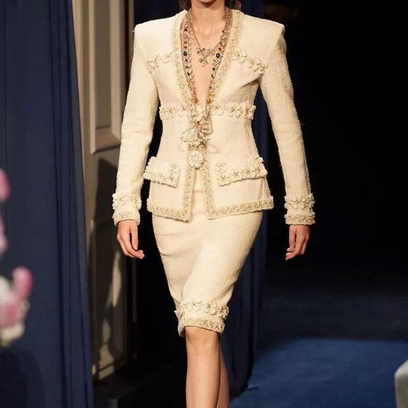 Luxury Brand Blazers Women Set Two Piece Suits Runway Designers Elegant 2020 Autumn Winter Suit Jacket Coat Midi Skrits Outfits