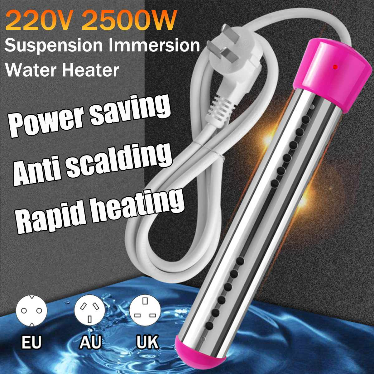 2500W 220V Portable Suspension Electric Water Heater Element Boiler For Inflatable Pool Tub Travel Camping Travel