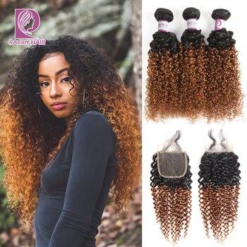 Racily Hair Ombre Brazilian Kinky Curly Bundles With Closure Remy Human Hair 3/4 Bundles With Closure 1B/30 Bundles With Closure