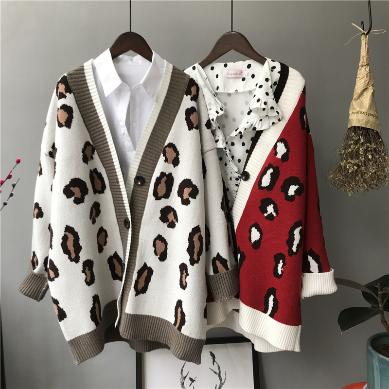 2019 Autumn Winter Knitted Leopard Sweaters Women Korean Thick Panelled Leopard Cardigan Coat Loose Striped Outwear Tops
