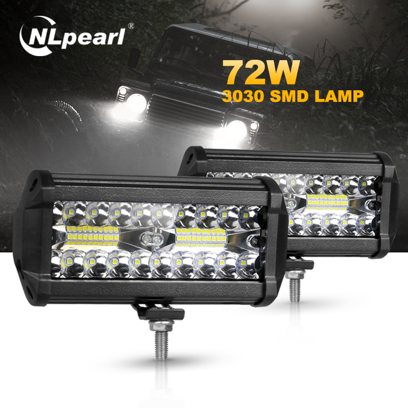 Nlpearl 2x 7 Inch Car Light Assembly 3 Rows 120W Combo Fog Lights For Cars Led Work Light Bar For Offroad Tractor Truck 4x4 SUV