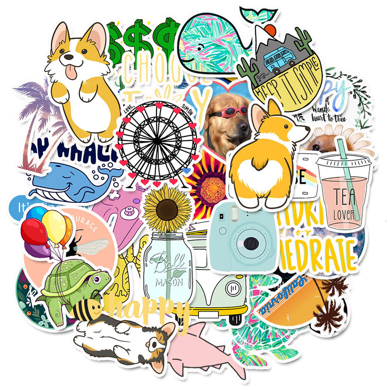 50 PCS Vsco Stickers Pack For Girl Things Cartoon Sticker On Laptop Fridge Phone Skateboard Suitcase Waterproof Dropshipping