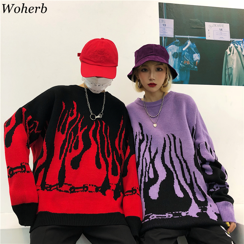 Woherb Oversize Sweater Harajuku Hip Hop Flame Fire Pullover 2020 Autumn Winter Man Women Loose Jumper Fashion Unisex Streetwear
