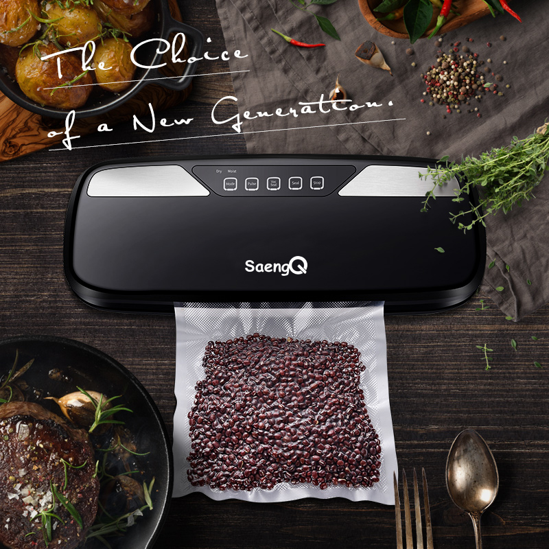 saengQ Best Electric Vacuum Food Sealer Packaging Machine For Home Kitchen Food Saver Bags Commercial Vacuum Food Sealing