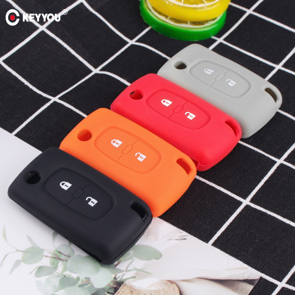 KEYYOU Silicone Remote Car Key Case Key Cover For Peugeot 208 207 3008 308 508 408 2008 407 307 206 2 Button Citroen Sega C5