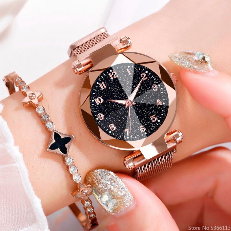 Free Shipping Fashion Design Starry Sky Watches Luxury Women Quartz Watch Women Stainless Steel Illuminate Magnet Watches Geneva