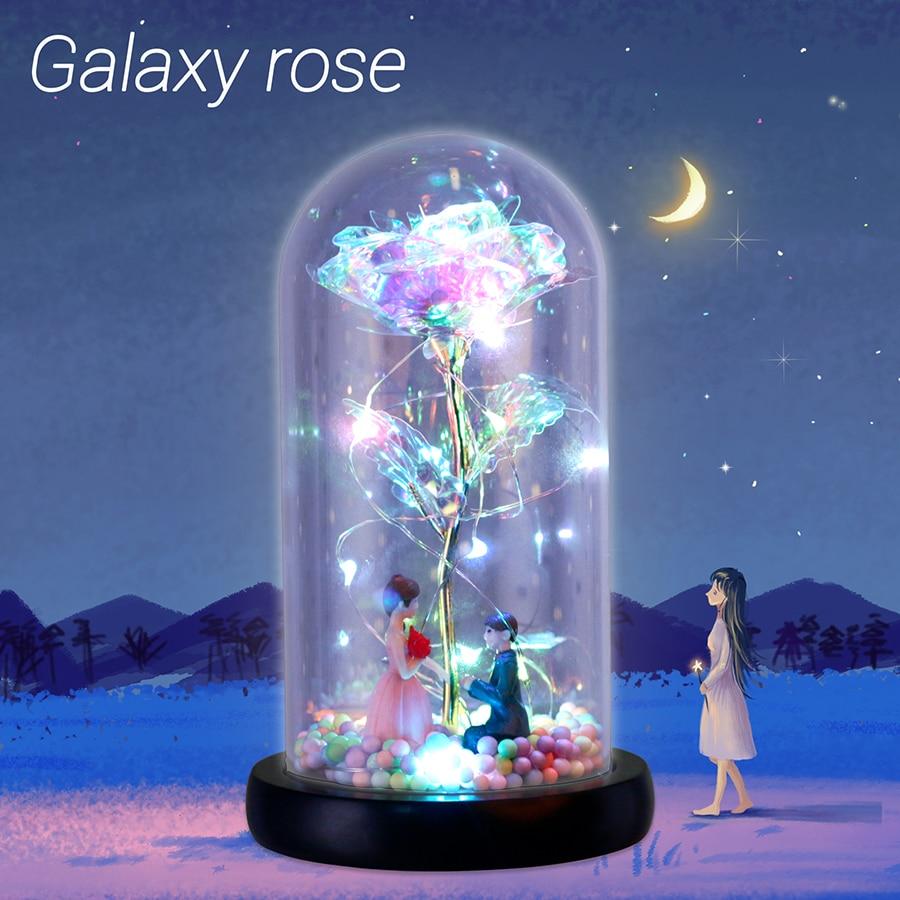 2020 Новый желая девочка галактика Роза в колбе светодиодные мигающие цветы в стеклянном куполе для свадебного украшения подарок на день Свя...