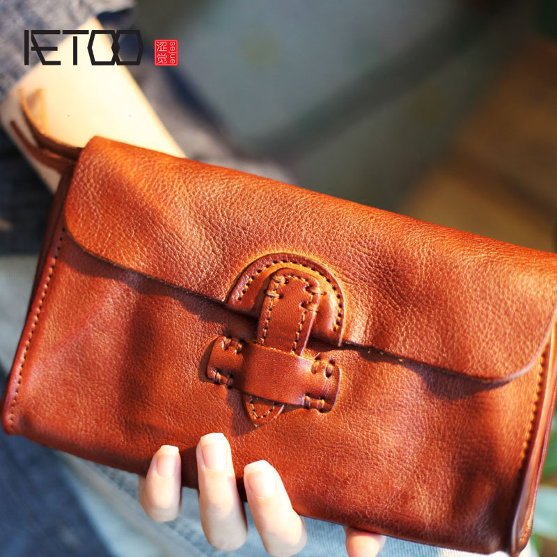 AETOO New handmade soft leather buckle trend male youth student  female cross section long paragraph neutral Vintage walletvintage  walletwallet walletwallet long