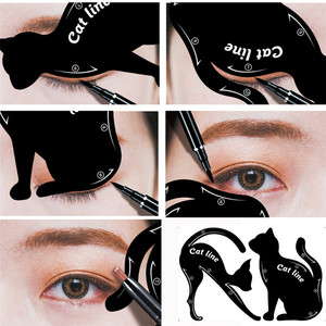 Deal 2Pcs Women's Cat Line Pro Eye Makeup Tool Eyeliner Stencils Template Shaper Model eyebrow definition shaping X4 0.5 10 PH(China)
