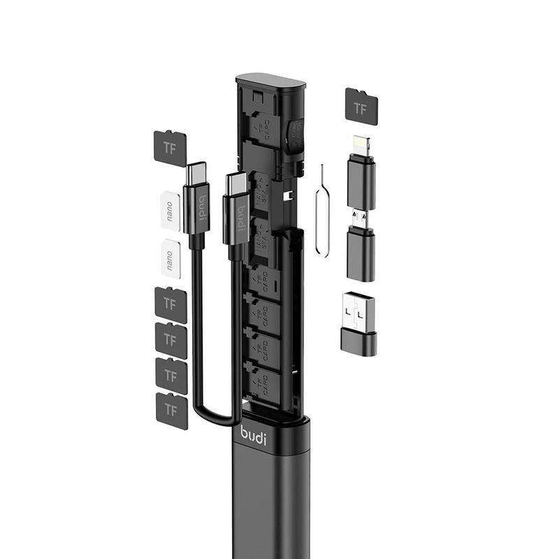 Budi multi-funcional cabo vara inteligente adaptador de armazenamento de cartão de dados caixa usb universal 15w carregador sem fio para iphone huawei