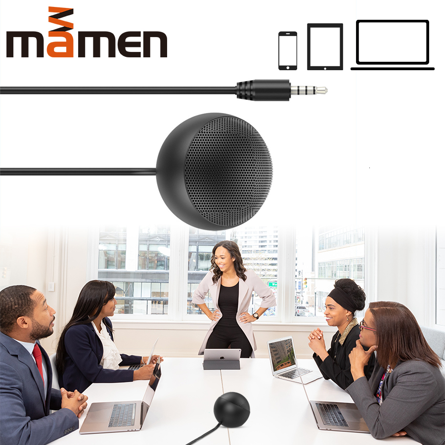 Ball 3.5mm Condenser 360 Degree Rotation Microphone Meeting Room Microphone For Smartphone/computers/notebooks/tablets/latop