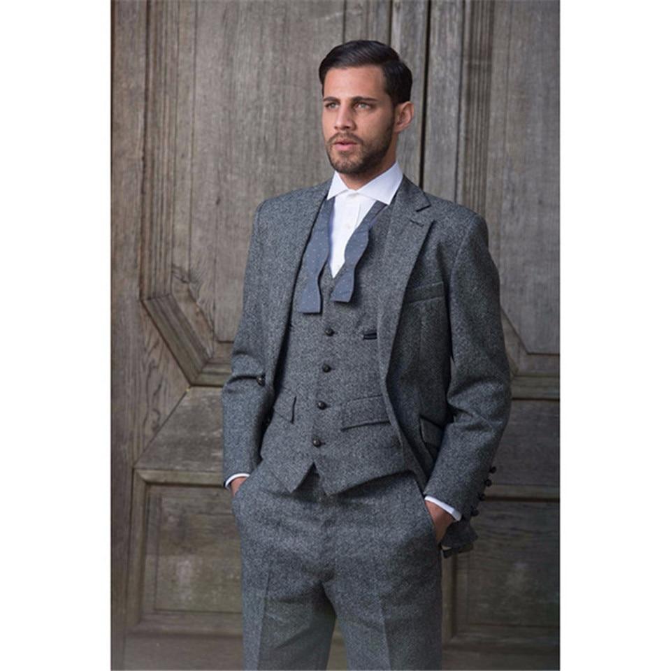 Elegant Grey Tweed Formal Men Suit New Slim Fit Classic Stylish Custom Mens Tuxedo Costume Homme Traje Hombre Men's Suits 3 Piece (Jacket+Pants+Vest)