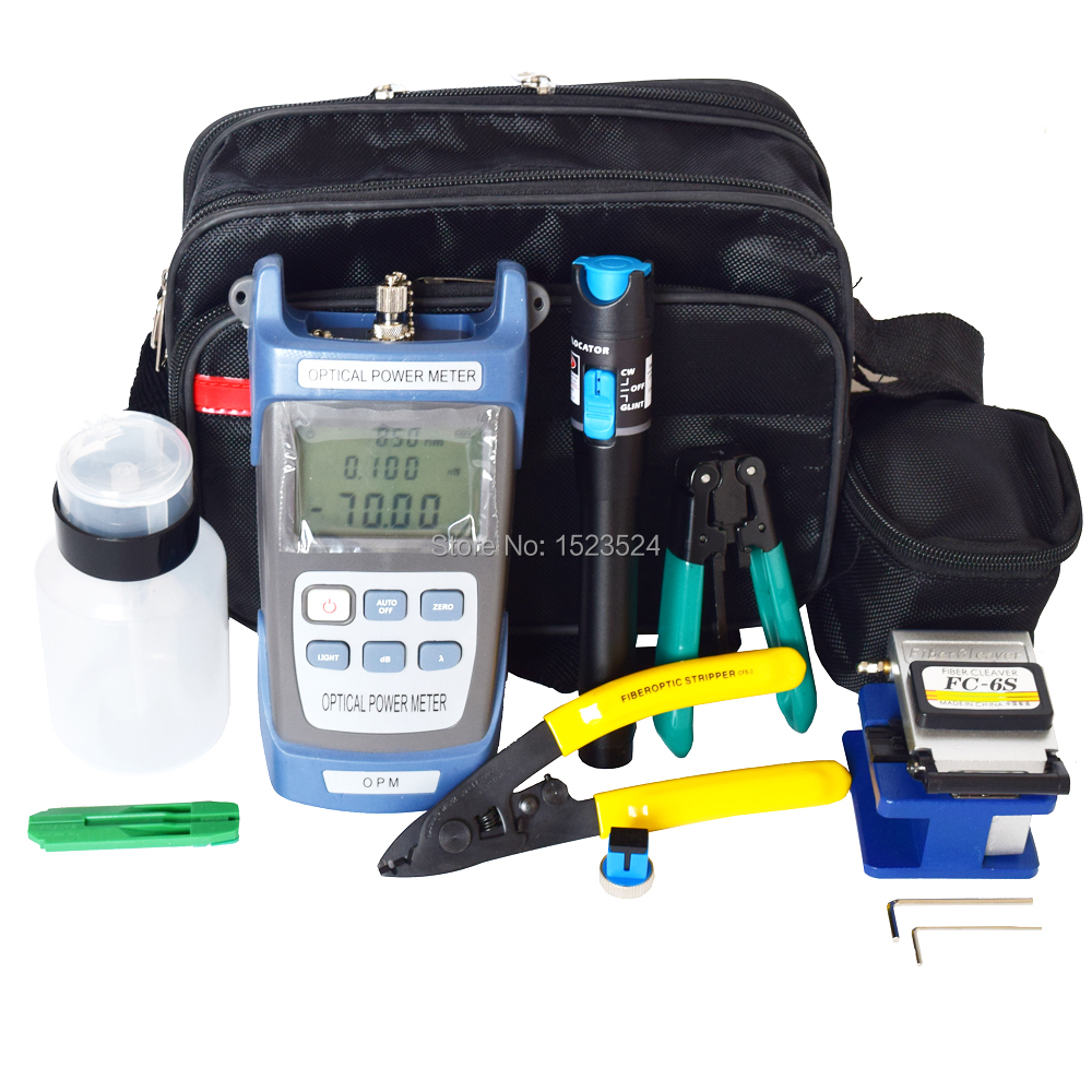 12 pcs / set FTTH Fiber Optic Tool Kit dengan Fiber Cleaver -70 ~ + 10dBm Optical Power Meter Visual Kesalahan Lcator 5 km