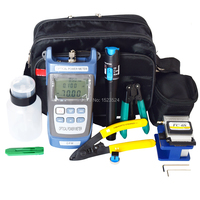 12pcs/set FTTH Fiber Optic Tool Kit with Fiber Cleaver 70~+10dBm Optical Power Meter Visual Fault Lcator 5km