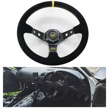 Car Accessories 14 Inch 350mm OMP Racing Steering Wheel Leather Yellow Line