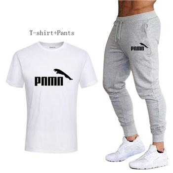 Męskie spodnie dresowe + męskie koszulki do biegania dwuczęściowe zestawy Jogging odzież sportowa męskie spodnie siłownia odzież sportowa spodnie dresowe tanie i dobre opinie summer COTTON Pasuje prawda na wymiar weź swój normalny rozmiar