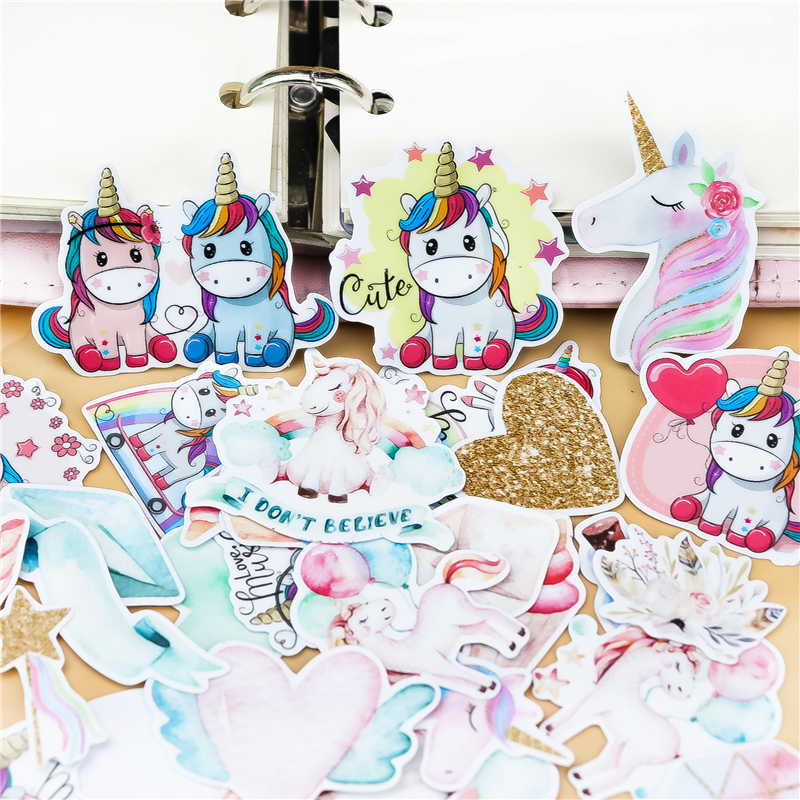 37PCS Cool Unicorn Stickers Pack Pink Girl Anime Stiker For Children On The Laptop Fridge Phone Skateboard Suitcase Sticker