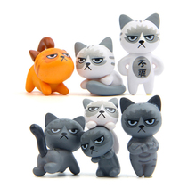 6Pcs Cute Mini Cat Figurine Bonsai Fairy Garden Micro Home Ornaments For Home Living