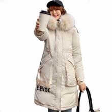 2019 Winter jacket women fur collar  hoodie Long Down cotton Parkas Jacket Plus Size Long Hooded Down coat  thick Parkas стоимость