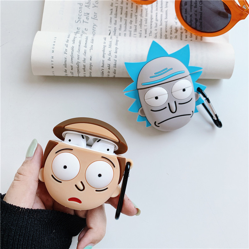 Jamular Cartoon Rick And Morty Wireless Bluetooth Earphone Cute 3D Case For Apple AirPods Silicone Charging Cover