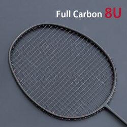 Professionale Ultra Luce 8U Completa in Fibra di Carbonio di Badminton Racchetta Incordata Offensiva Tipo Racchette Racchetta Max 35LBS Padel Sport
