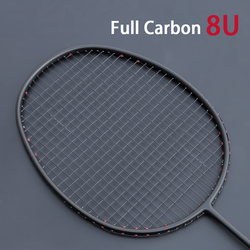 Profissional ultra leve 8u raquete de badminton fibra carbono completo amarrado tipo ofensivo raquetes max 35lbs padel esportes