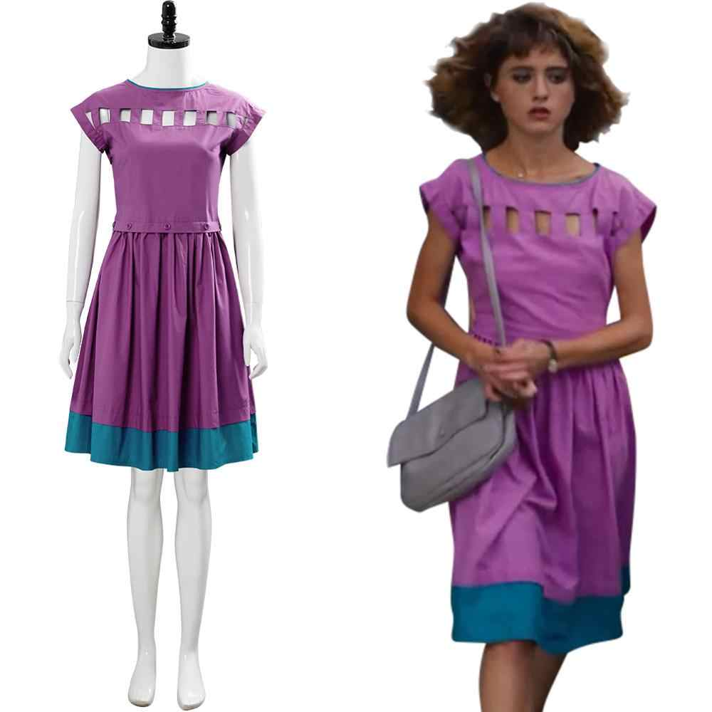 Stranger Things Season 3 Cosplay Nancy Wheeler Costume Purple Dress Skirt Outfit
