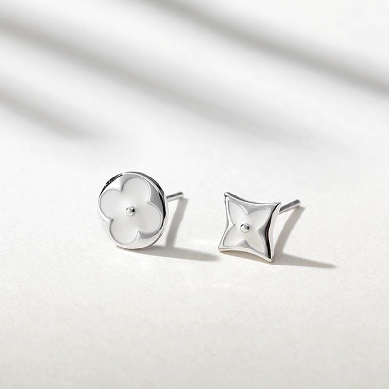Персонализированные Асимметричные клевер женские серьги гвоздики 925 стерлингового серебра ювелирные изделия маленькие серьги для женщин сережки Brincos 2019