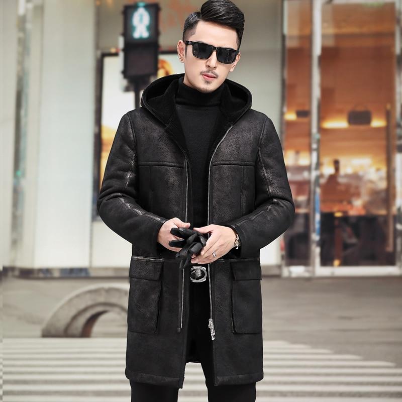 Real Fur Coat Men Sheep Shearing Winter Coat Men Genuine Leather Jacket Men Natural Wool Coat Hooded Windbreaker 808 YY795