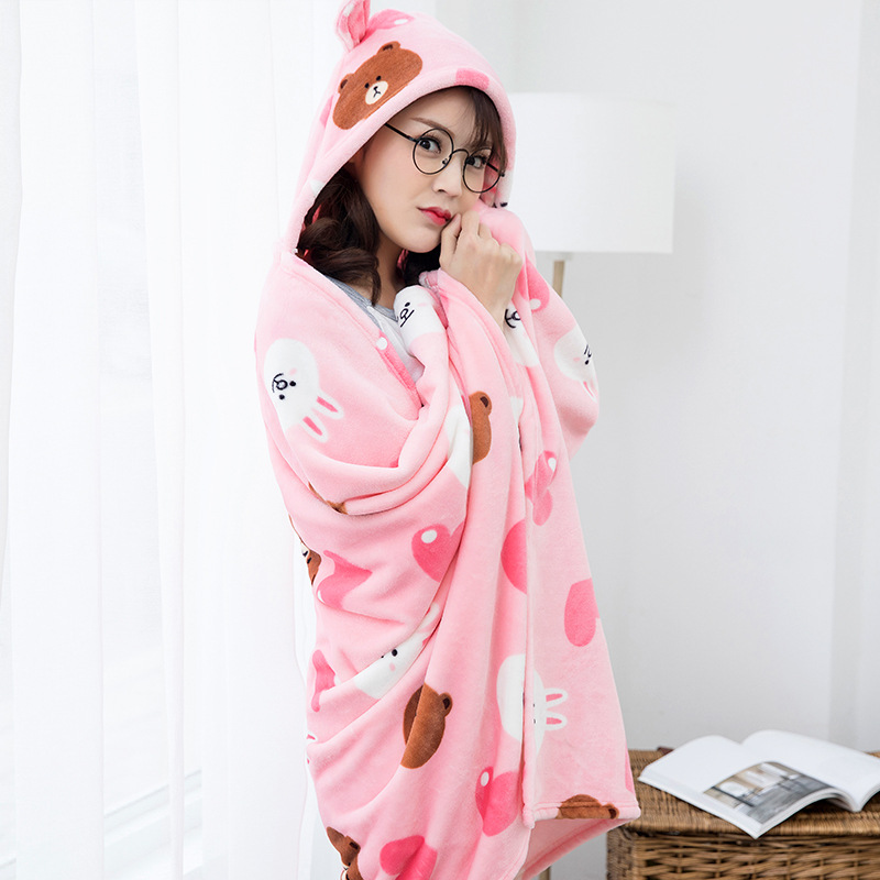 Winter Thick Comfy Hooded Cartoon Blanket Sweatshirt Soft Warm Throw TV Hoodie Blankets Fleece Blanket Adult for Sofa Beds Kids 7