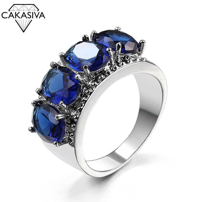 New 925 Silver 4 Large Gemstone Irregular Personality Designer Ring For Women AAAA CZ Zircon Ring Jewelry
