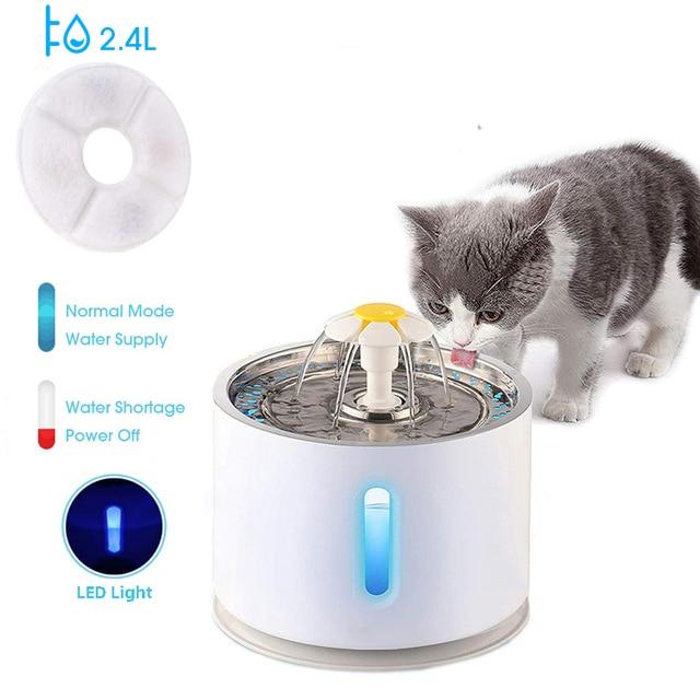 2.4L автоматический кошачий фонтан воды Уровень воды окно светодиодный Электрический бесшумный питатель воды собака поилка миска для питья ...