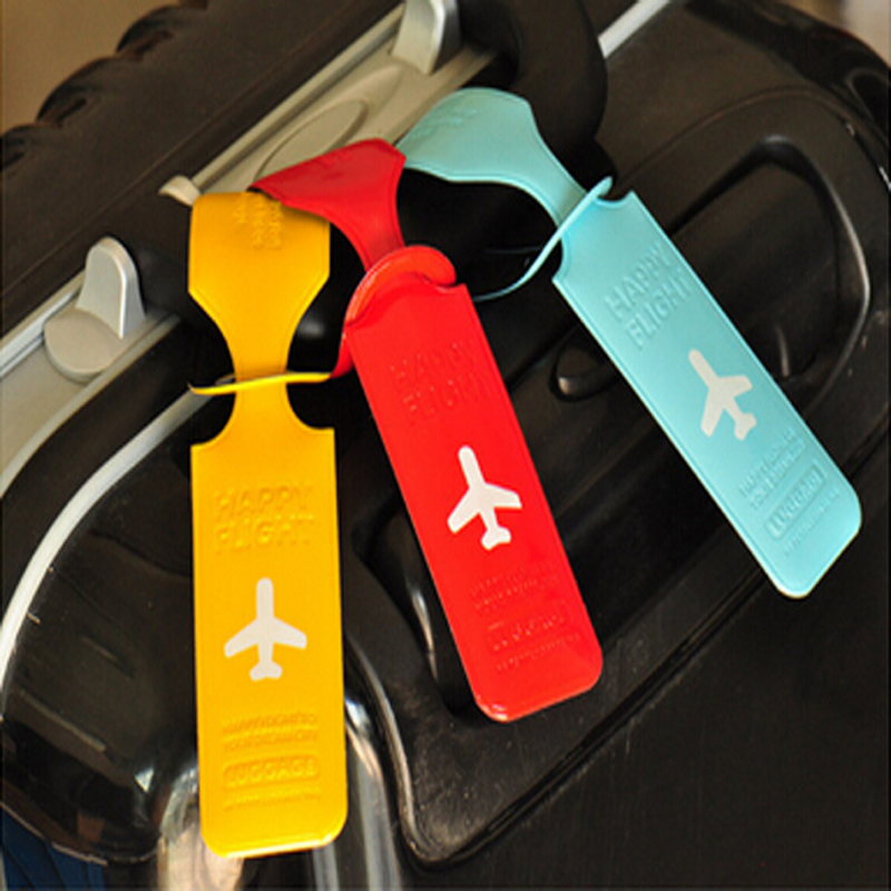 Cute Luggage Label Straps Suitcase High Quality Handsome Airplane PVC Accessories ID Name Address Identify Tags Luggage Tags image