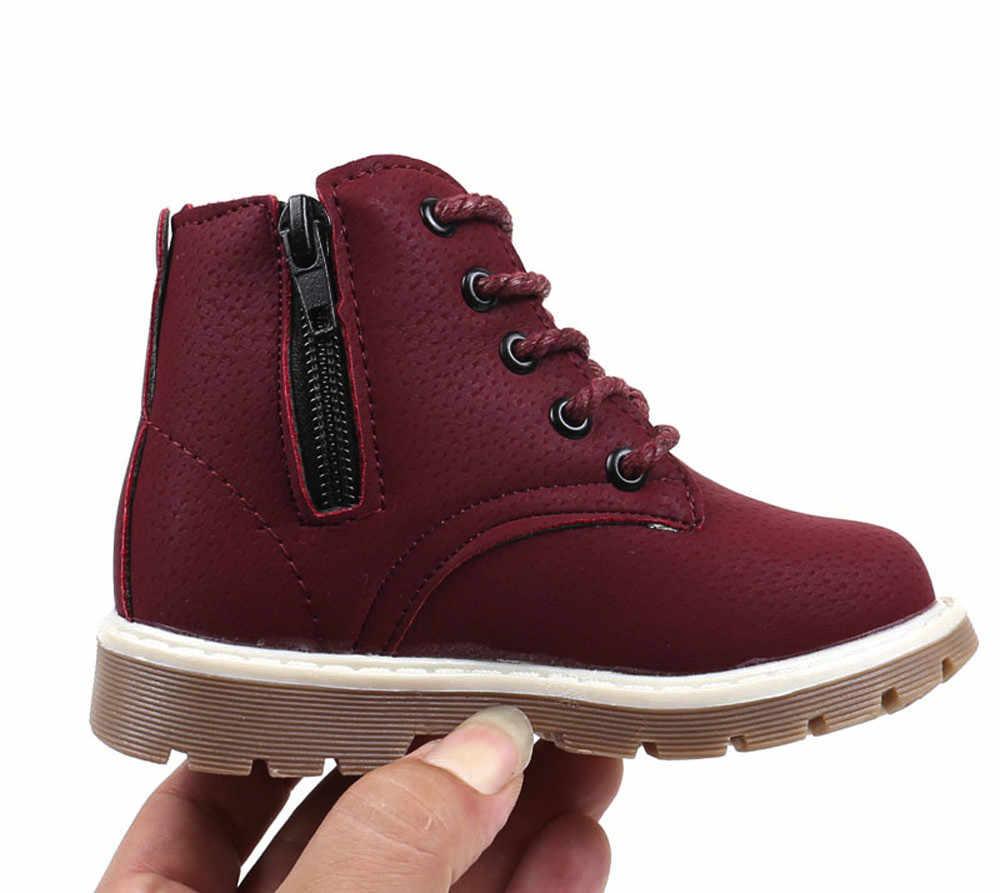 Çocuk sıcak erkek kız Sneaker botları çocuk bebek rahat ayakkabılar kaymaz moda Zip yumuşak Pu deri nefes çizme bebek