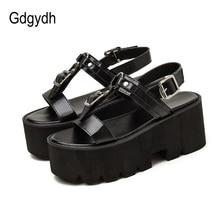 Gdgydh Fashion Buckle Platform Shoes Goth Punk Metal Decoration Thick Heels Women Sandals For Studen