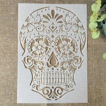 29*21cm esqueleto cráneo DIY estacas pintura de pared álbum de recortes para colorear en relieve álbum Plantilla de tarjeta de papel decorativa