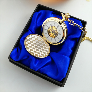 Image 5 - Dia 4.5cm Plain Chrome Pocket Watch with gift box packing BLACK / SLIVER / GOLDEN /BRONZE