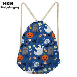 ThiKin 2019 забавная сумка на завязках с черепом для Хэллоуина для мальчиков и девочек, детские рюкзаки с мультяшным рисунком, женская