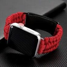 Im freien Überleben Seil strap Für Apple uhr band 44 mm 40mm 42mm 38mm Leder iWatch Armband Apple uhr serie 6 se 5 4 3
