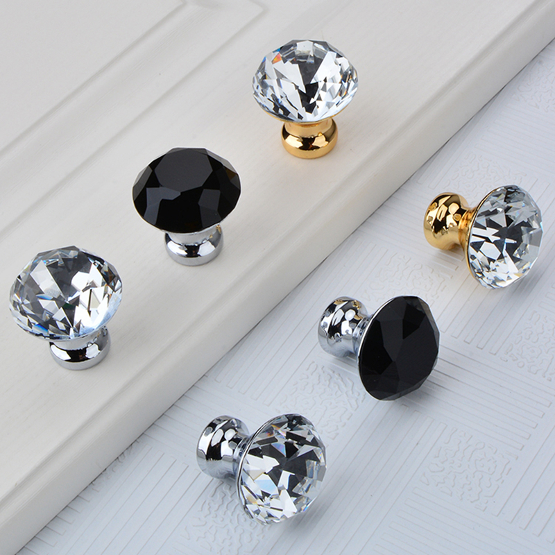Diamond Clear Crystal Glass Door Pull Drawer Cabinet Furniture Accessory Handle Knob Screw Worldwide