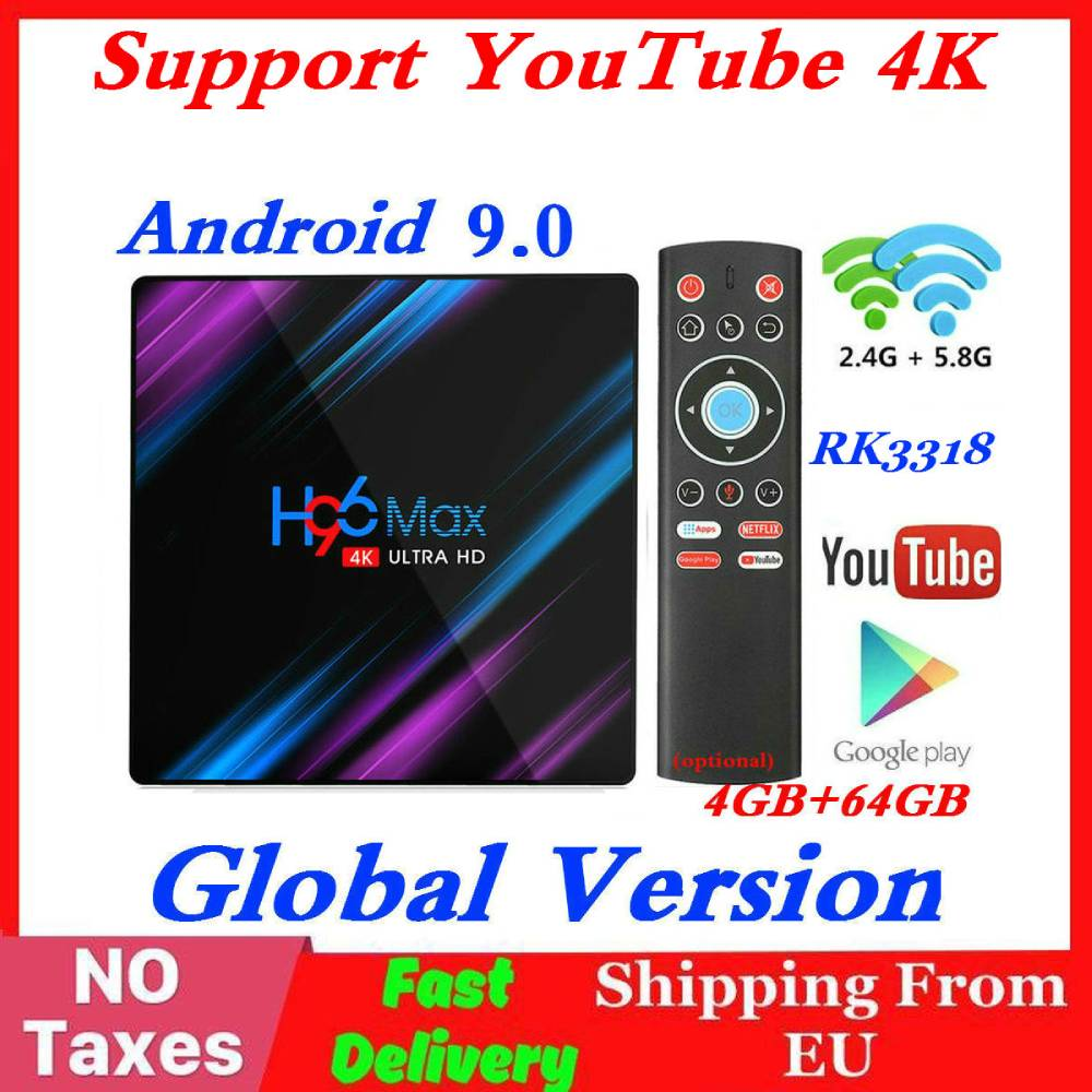 RK3318 H96 MAX Smart TV Box Android 9.0 4GB RAM 64GB ROM 32G 4K WiFi lecteur multimédia Google voix Netflix Youtube 2G16G décodeur