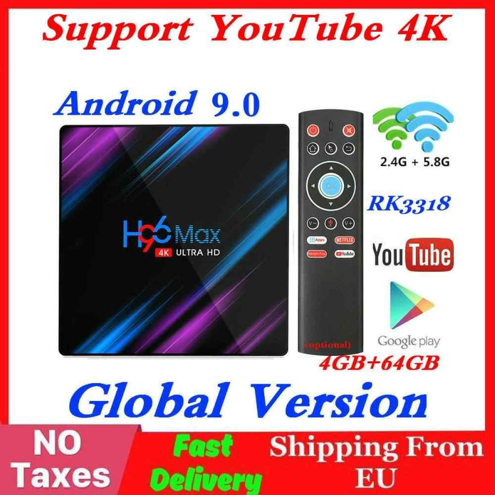 Rk3318 h96 max smart tv box android 9.0 4 gb ram 64 gb rom 32g 4 k wifi media player google voz netflix youtube 2g16g definir caixa superior
