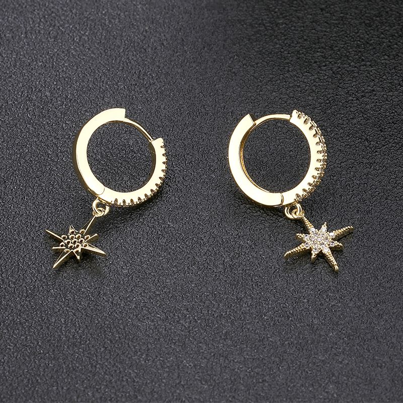 New Trendy Gold Silver Eight Star Small Hoop Earrings Fashion Pave Silver Crystal Star Drop Earrings For Women Jewelry 2019